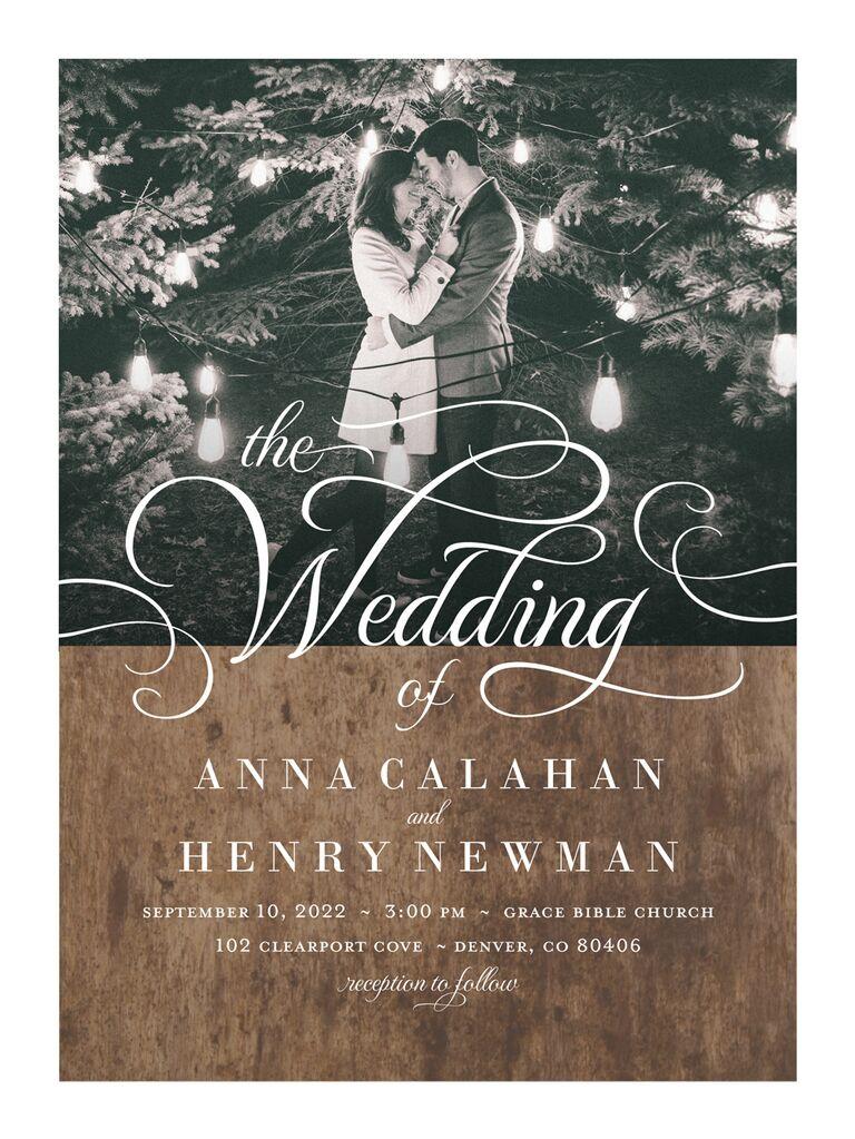 Photo rustic wedding invitation