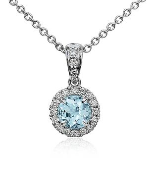Blue Nile Aquamarine and Diamond Pendant Wedding Necklace photo