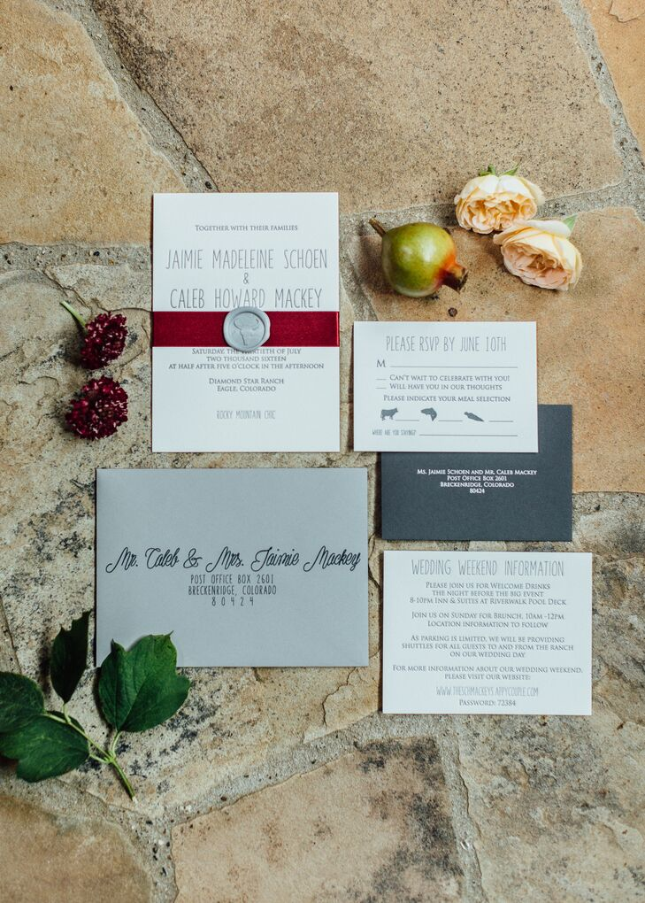 Gray and White Invitations with Handwritten Letterpress Font