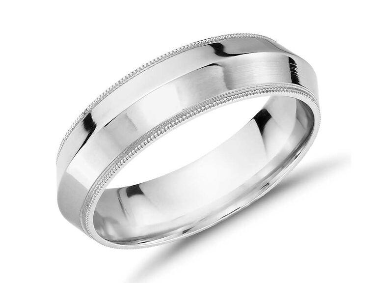 Blue Nile Monique Lhuillier polished knife edge platinum wedding ring