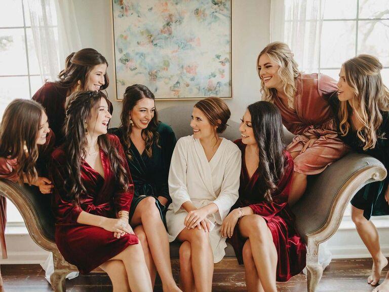 velvet bridesmaid robe