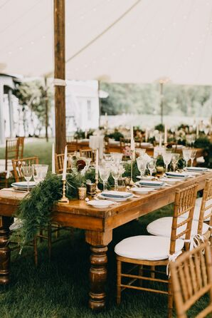 Rustic Dining Tables, Chiavari Chairs and Greenery Runner