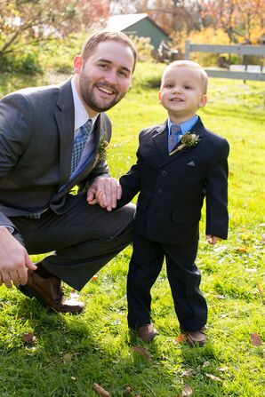 Black Ring Bearer Suit with Blue Tie