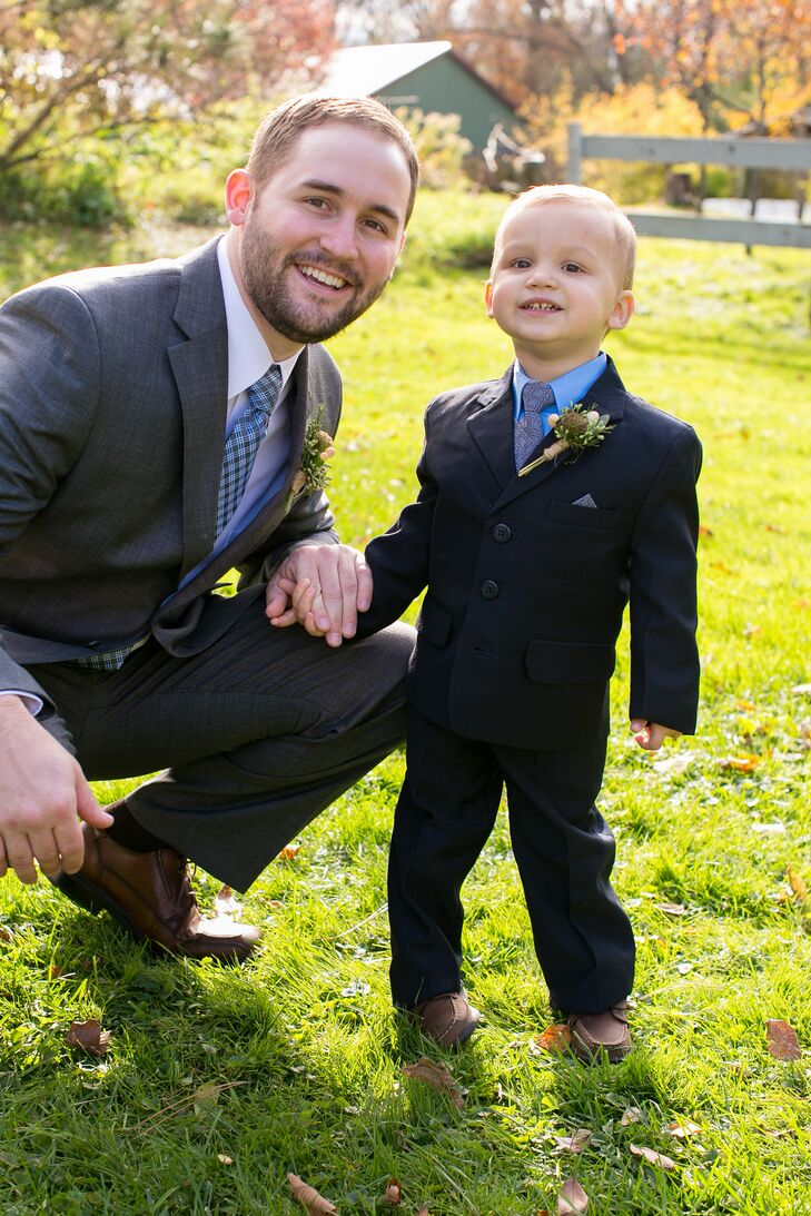 "Roger wore a gray suit with a gray-and-blue tie for the wedding. ""I knew buying a suit was probably my one chance to get Roger an outfit that wasn't flannel or made by Carhartt,"" Beth says. ""But in all honesty, we both agreed that buying a suit was a more practical choice."" The ring bearer mirrored his look with a black suit and a blue shirt and tie."