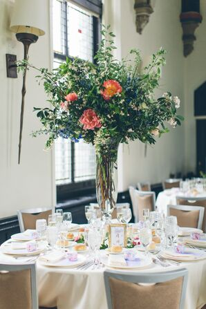 Tall, Textured Greenery and Peony Centerpieces