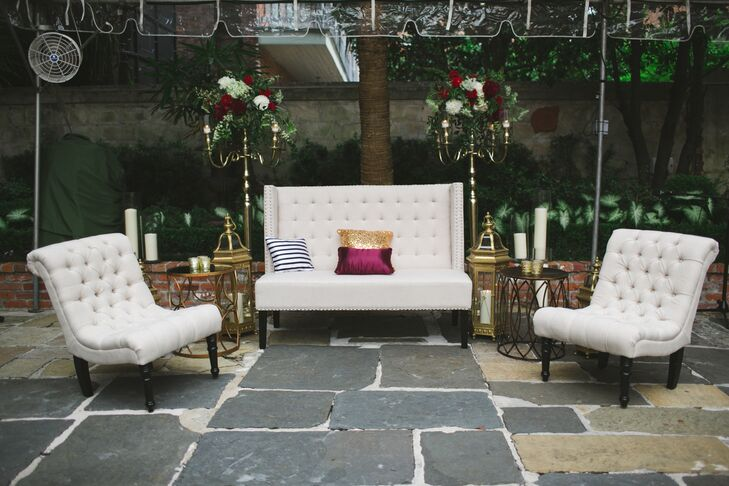 The courtyard ceremony space included areas for dancing and lounging.