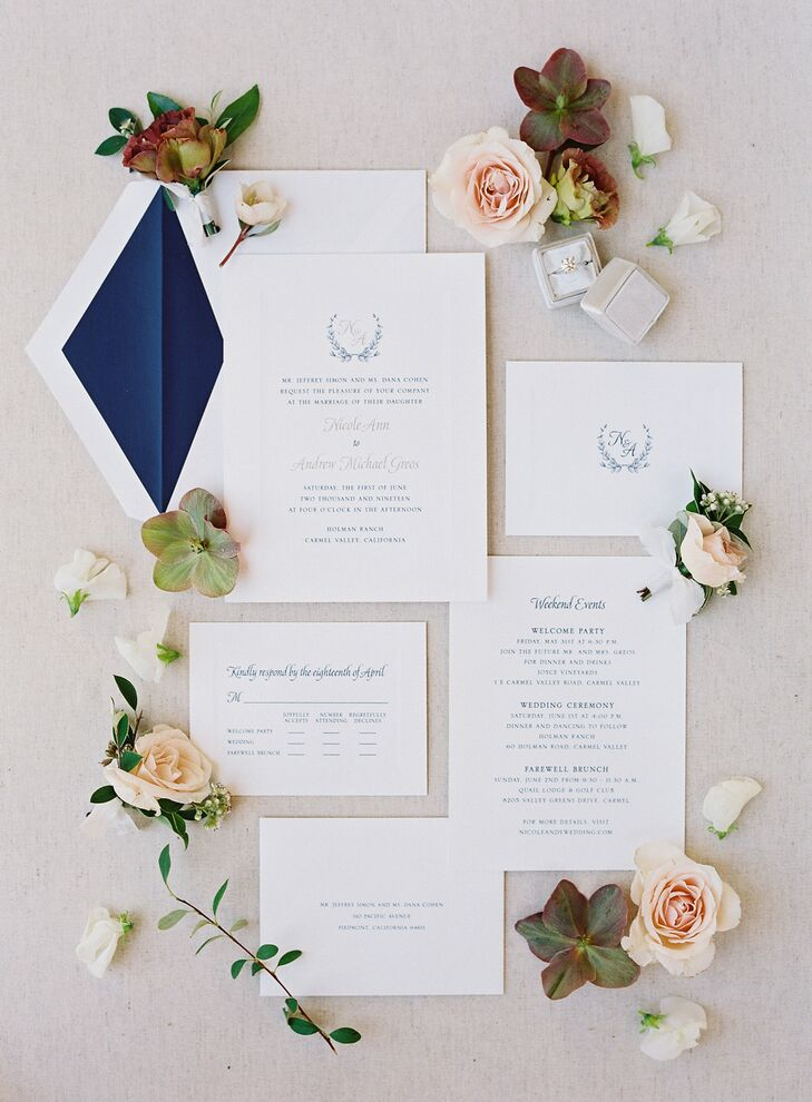 Classic Invitation for Wedding at Holman Ranch in Carmel Valley, California