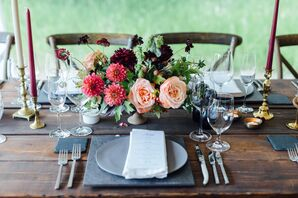 Natural Dahlia, Raspberry and Scabiosa Centerpiece