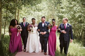 Wedding Party with Blue Suits and Fuchsia Dresses