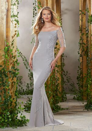 MGNY 71902 Blue,Silver,Gray Mother Of The Bride Dress