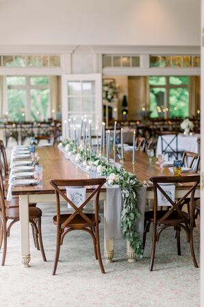 Country Club Dining Table with Organic Runner and Candles