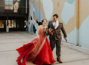 For their modern and industrial wedding, Caryn Gepp and Ryan Gepp mixed primary colors and fun patterns for a welcoming atmosphere. Guests received in