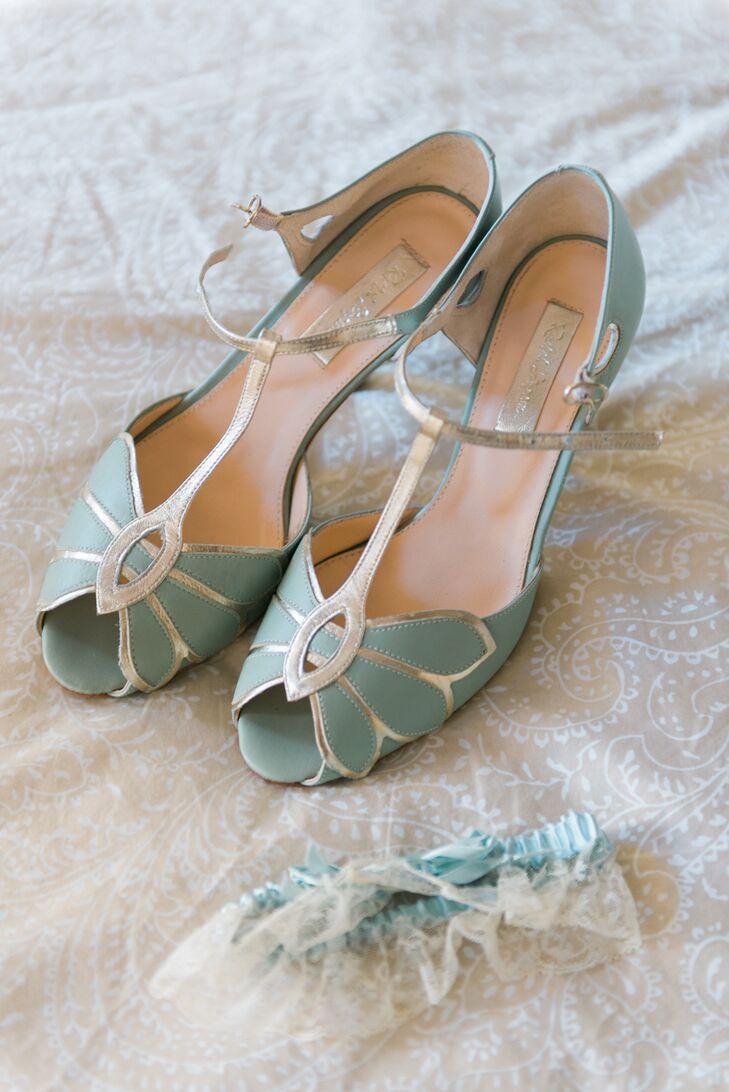 Vintage Teal Bridal Shoes