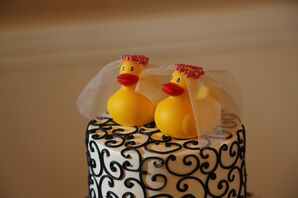 Whimsical Rubber Duckie Bride and Bride Cake Topper