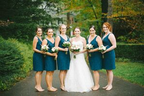 Knee-Length Navy Blue Bridesmaid Dresses