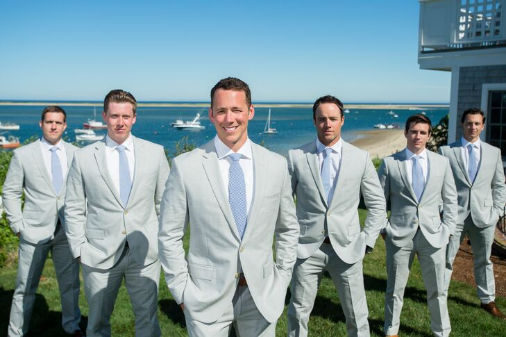5d98ab86d882 Gabriel and his groomsmen wore custom Italian Cotton Oxford Cloth suits  from the J. Crew