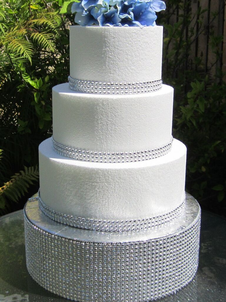 Sparkly round silver crystal wedding cake stand