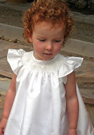 Isabel Garretón Baby Girl Smocked Bishop White Flower Girl Dress