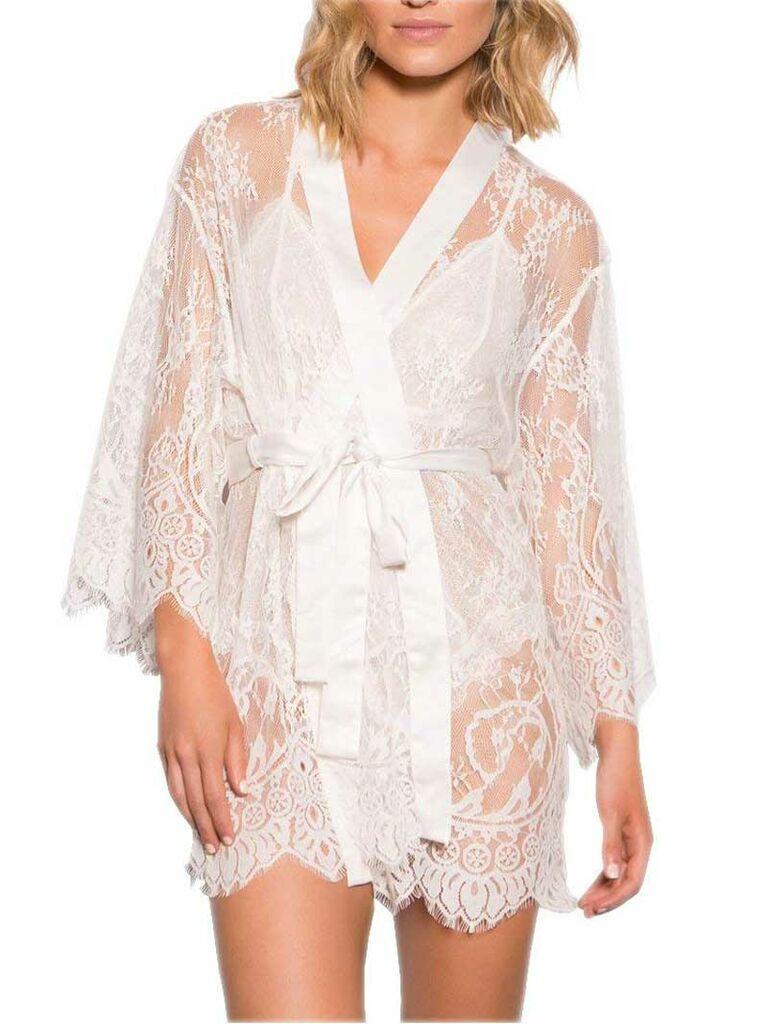 Sheer lace white bridal robe