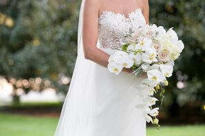 Blush and White Bouquet of Stephanotis, Dusty Miller, Roses and Hydrangeas