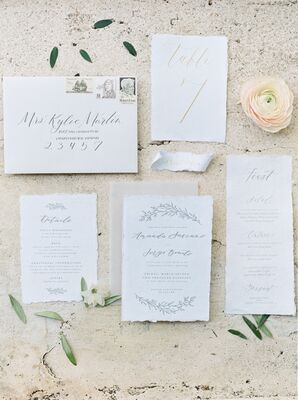 Romantic Gray Script Invitations with Laurel Motif