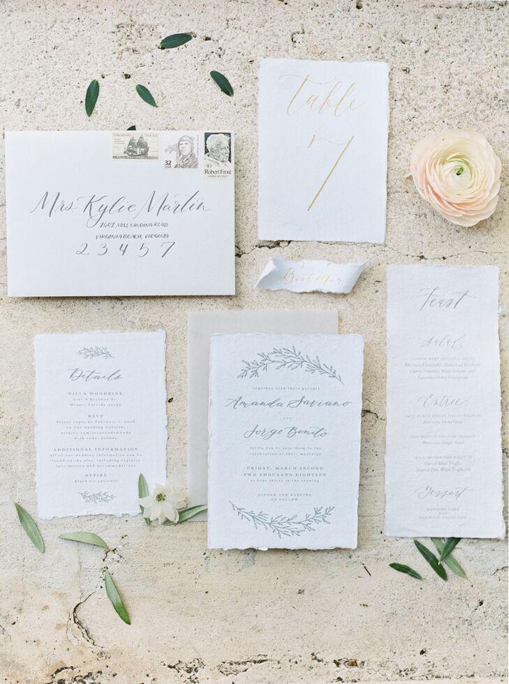 Romantic Gray Script Invitations with Laurel Motif