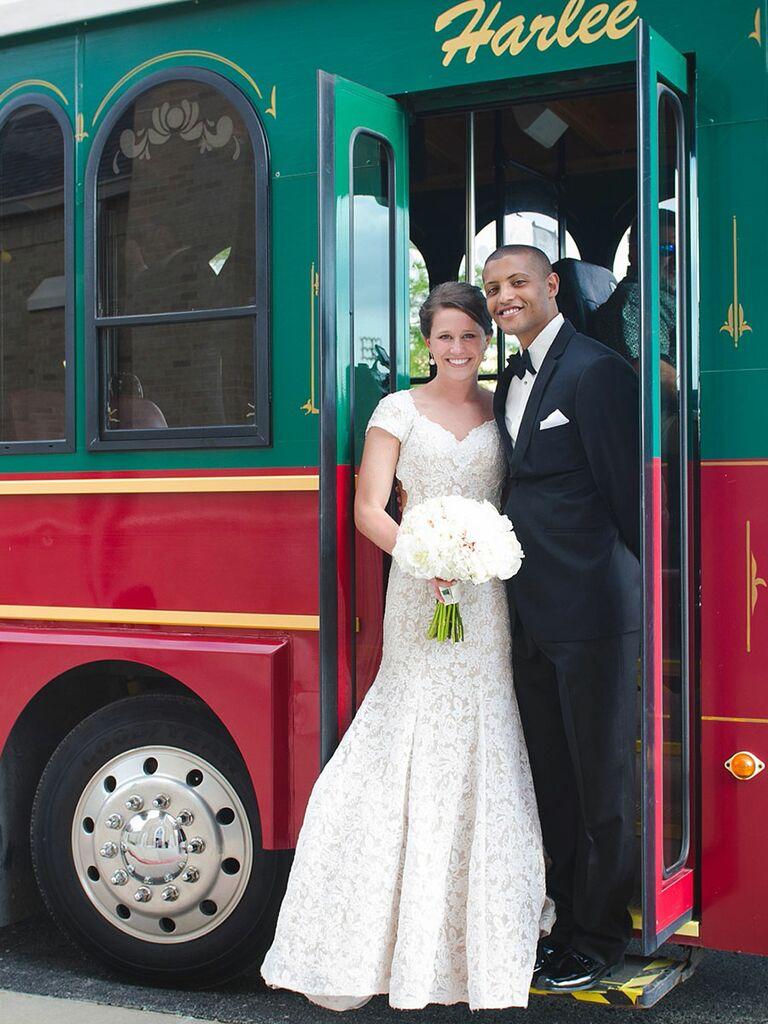 Trolley Car wedding exit