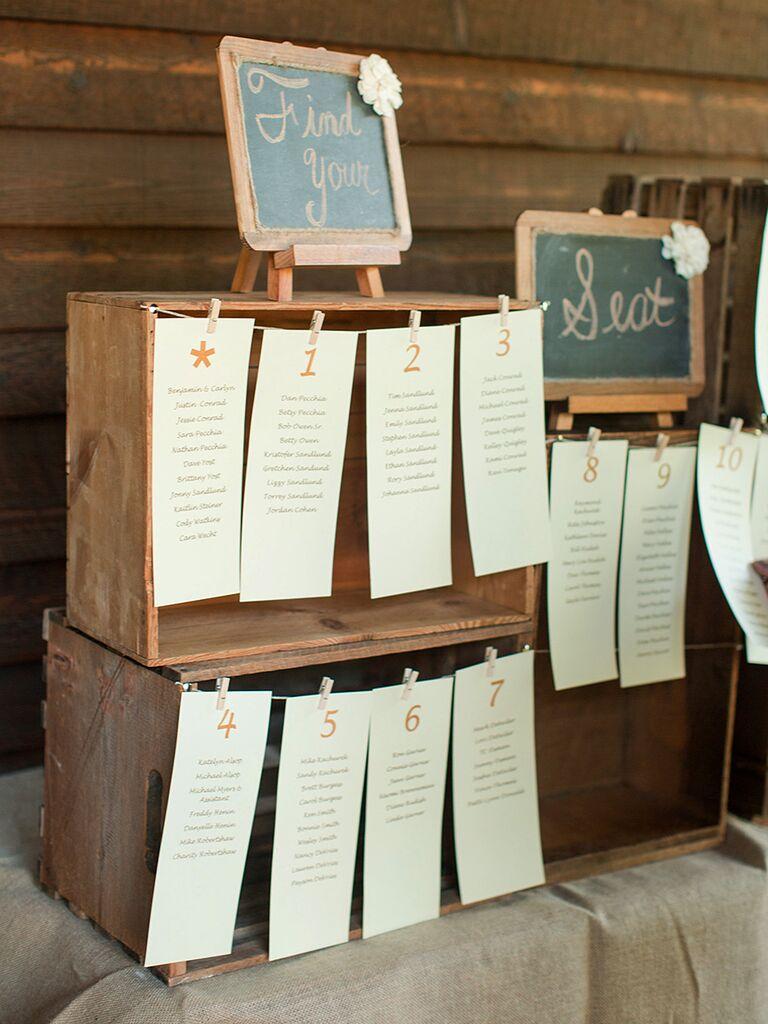 Wooden crate escort display idea for a wedding reception