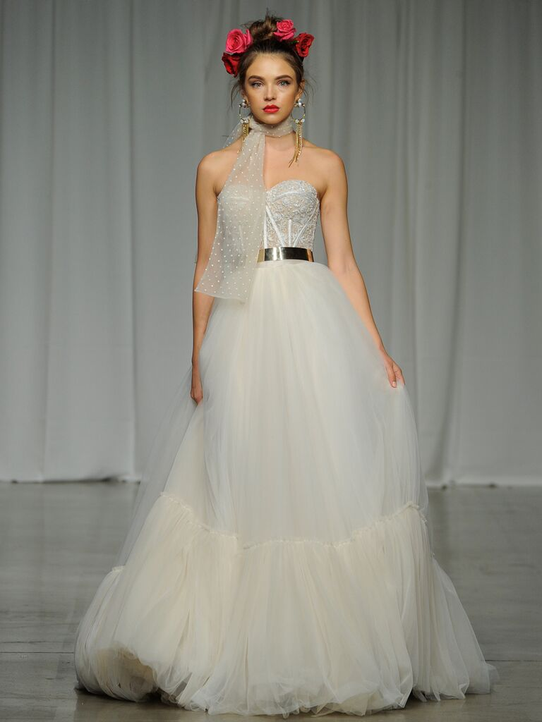 Julie Vino Spring 2019 wedding dress with a tulle ball skirt and corseted lace bodice