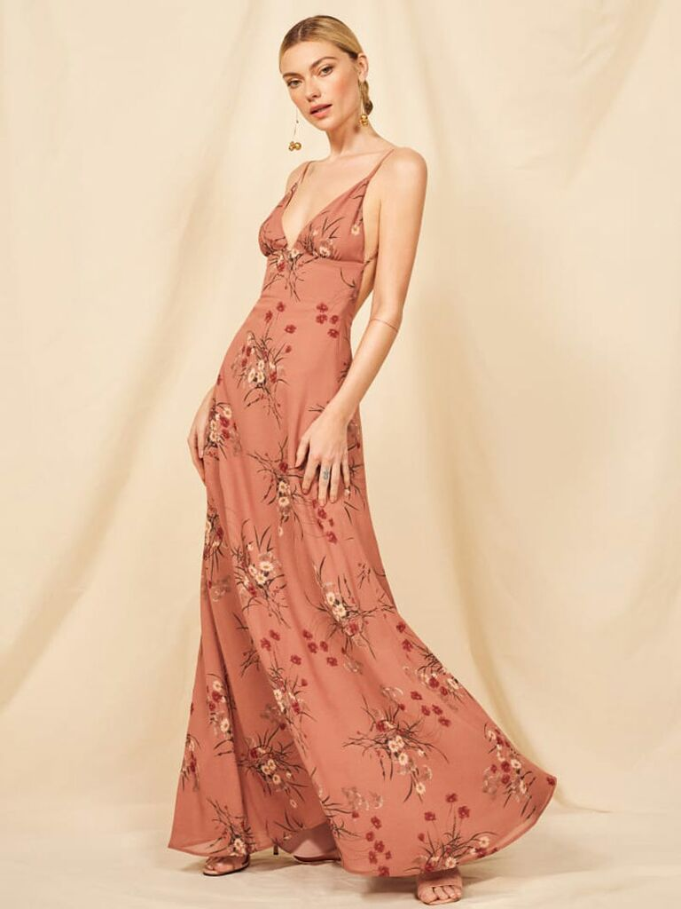 ab19713d8385 Pink floral Reformation spring bridesmaid dress
