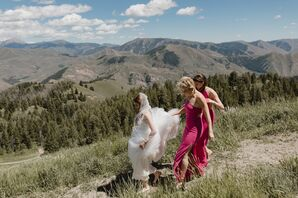 Bride and Bridesmaids with Mountain Backdrop