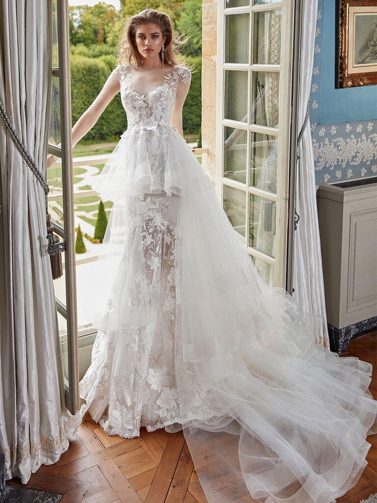 Galia Lahav sheer lace gown with peplum detachable overskirt