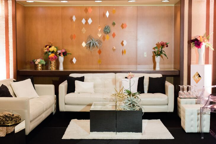 Lounge areas set up beside the dance floor gave guests somewhere to rest their feet in style.