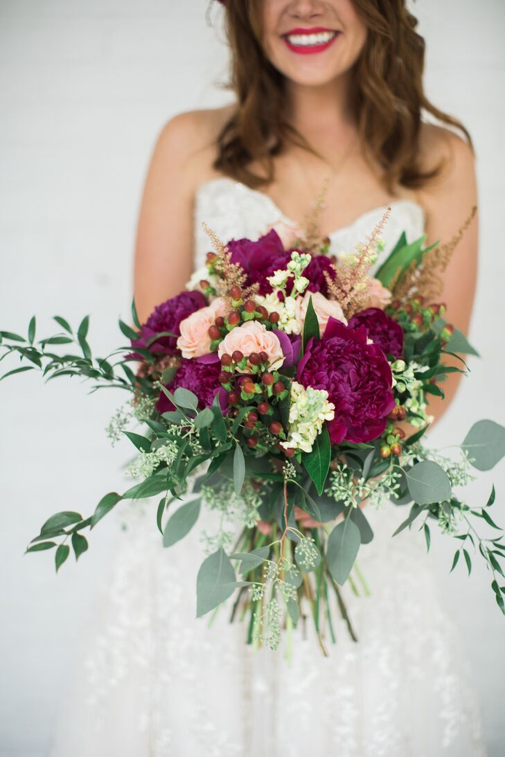 The fall-inspired bouquet and all the flower crowns were made by a family friend.