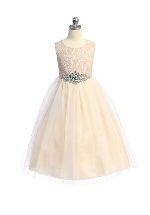 Kid's Dream Long Lace Illusion Dress w/ Diamond Shape Rhinestone Trim Flower Girl Dress