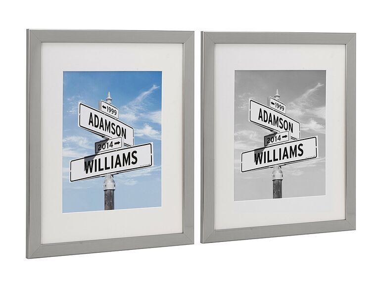 Side-by-side color and black-and-white photo print in silver frame