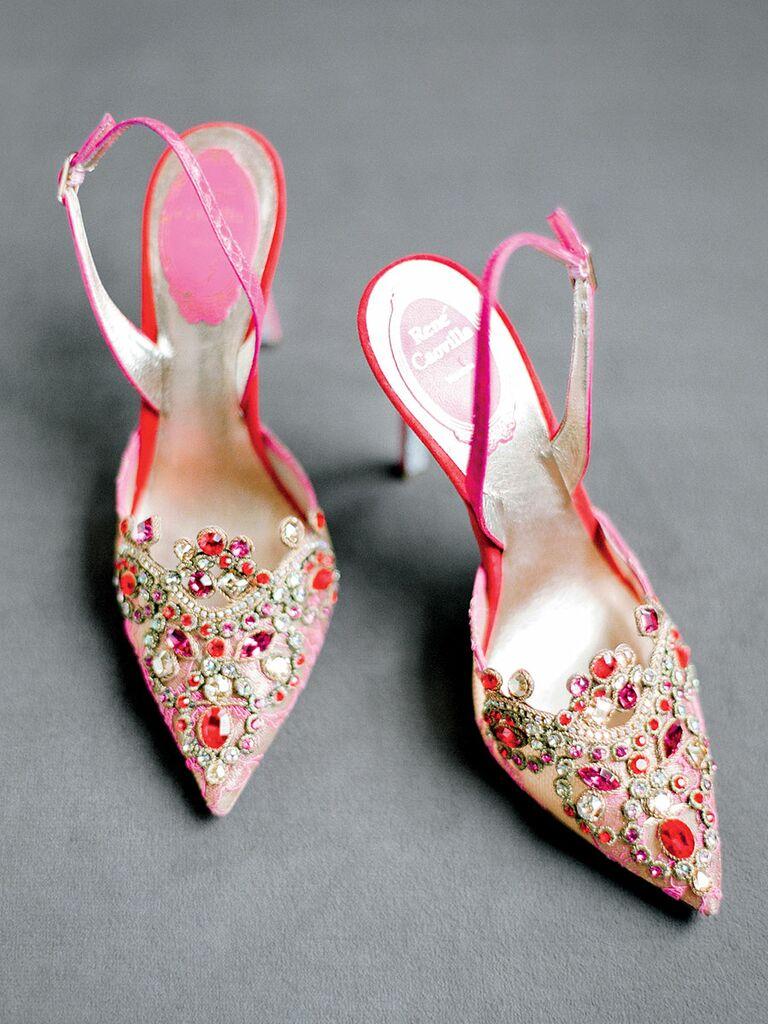 Pink wedding shoes with jewel embellishments