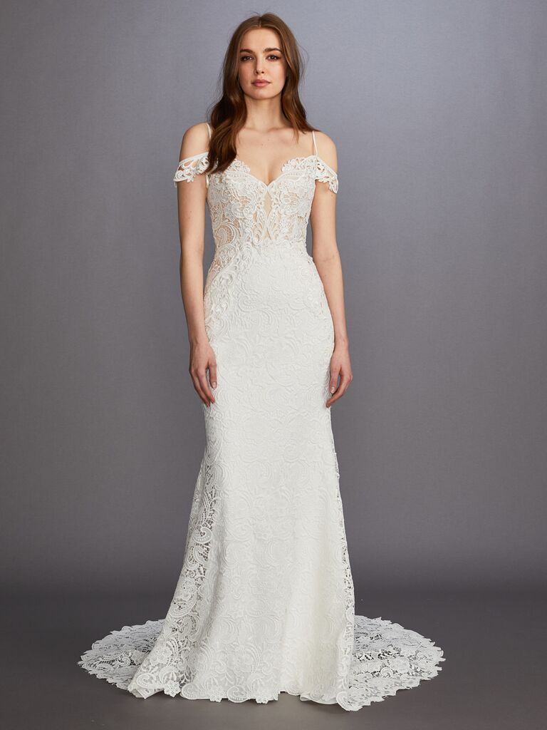 Lazaro Fall 2019 Bridal Collection fitted white lace wedding dress with cold shoulder sleeves