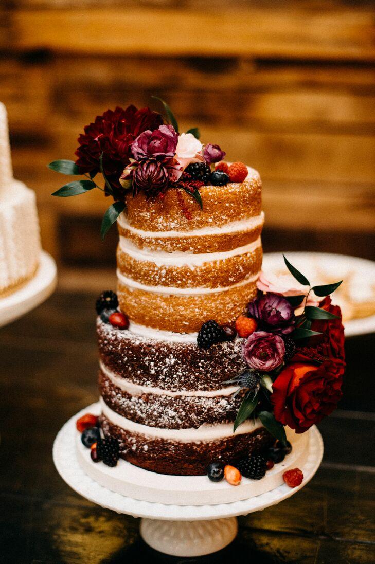 Naked Wedding Cake with Vintage Flowers