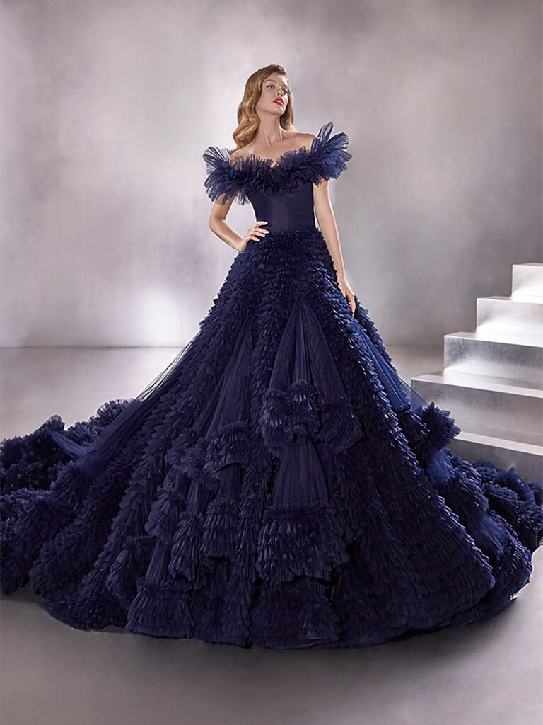 Atelier Provonias wedding dress navy blue tulle ball gown