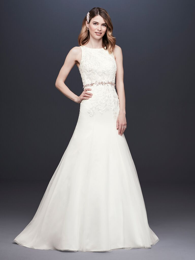 David's Bridal Spring 2019 embroidered wedding dress with a high neckline and belt detail