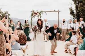 Bohemian Couple Dancing During Recessional
