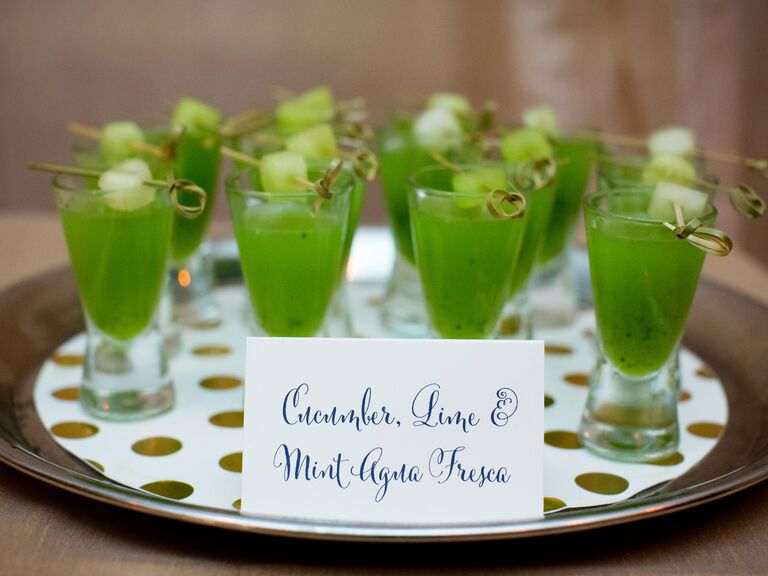 Nonalcoholic juice shots at wedding receptions