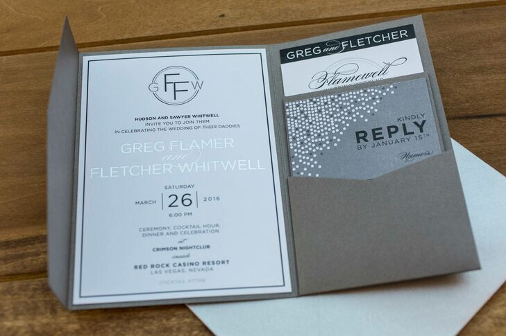 The invitation and wedding suite included a pull-out with photos of the couple and their children as well as a schedule of events and reply card.