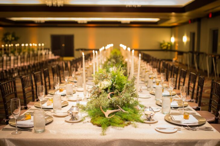 Antler, Moss and Greenery Lined Reception Table