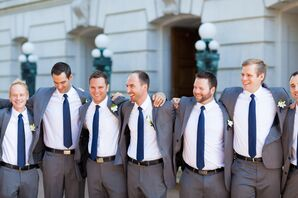 James' Groomsmen in Gray Suits with Navy Ties