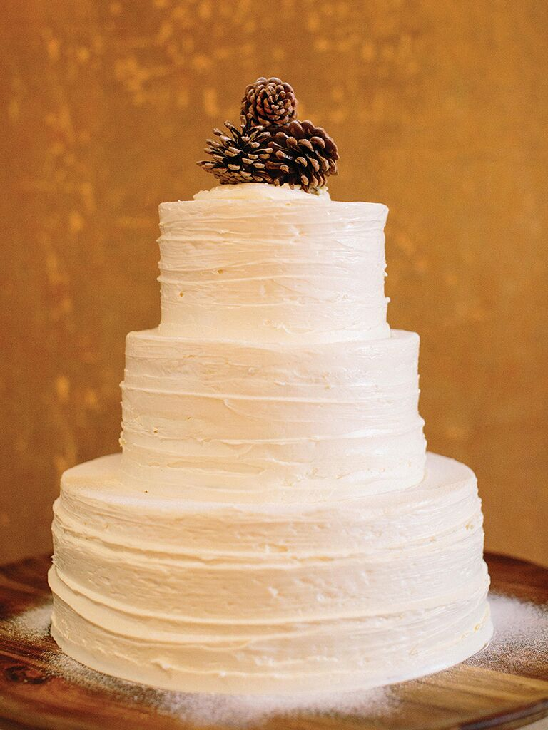DIY rustic pinecone wedding cake topper idea