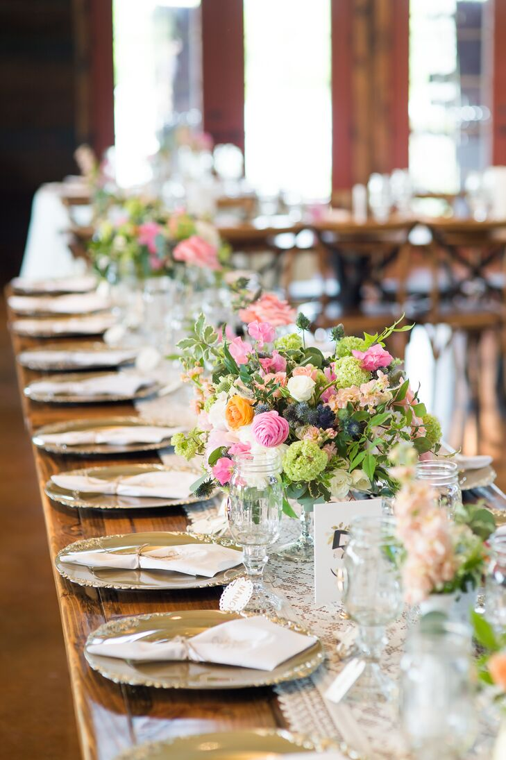 Wooden Farm Table Reception Seating