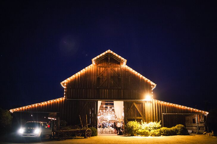 """""""Neither of us had ever visited the Central Coast before, but as soon as we set foot on the ranch, we couldn't imagine getting married anywhere else,"""" Chi says. """"The property is full of history, and the landscape is absolutely breathtaking. Ryan's grandmother was a huge admirer of owls. When the barn doors opened, we were greeted by the cutest barn owl; it was definitely a sign, to say the least!"""""""