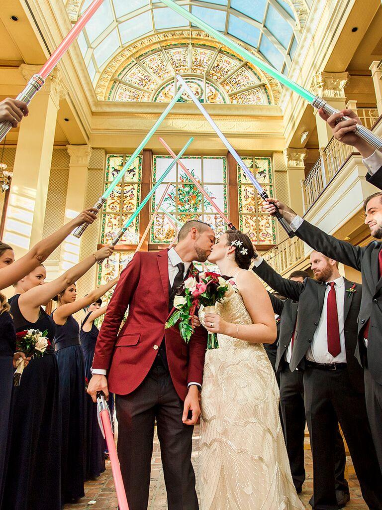 Star Wars lightsaber wedding ceremony exit
